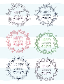 Dia das mães feliz conjunto de quadros de dia das mães com ilustração de flores