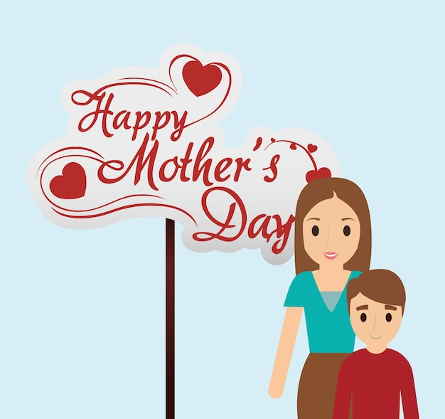 Dia das mães feliz coração de letras - mãe e filho