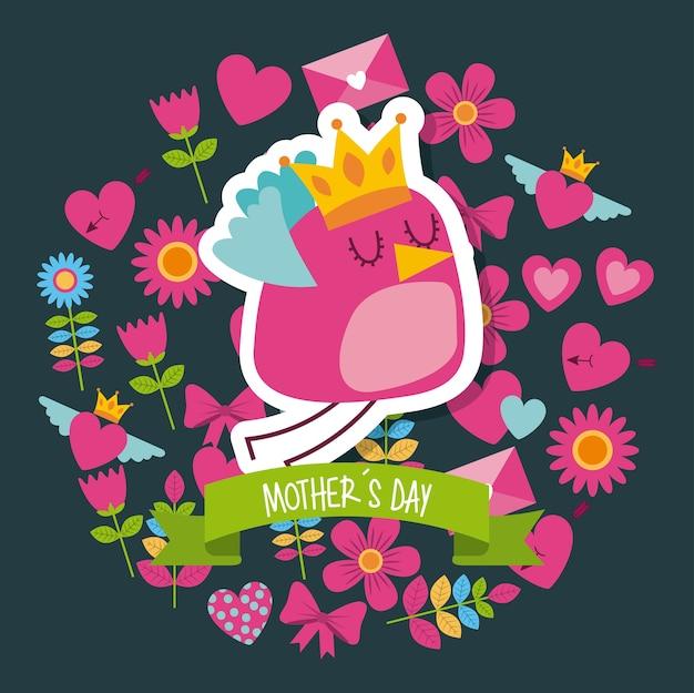 Dia das mães fundo floral do coração