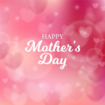 Dia das mães turva com corações e saudação