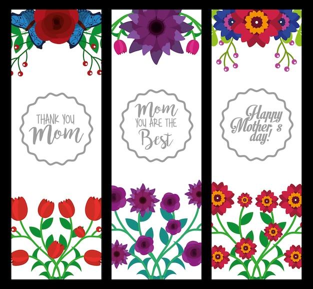 Dia das mães verticais das bandeiras decoração flores set