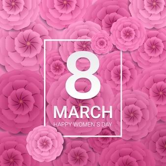 Dia das mulheres 8 de março feriado celebração banner panfleto ou cartão com flores de papel decorativas ilustração renderização em 3d
