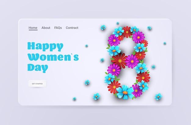 Dia das mulheres 8 de março feriado celebração banner panfleto ou cartão com flores em forma de número oito ilustração horizontal