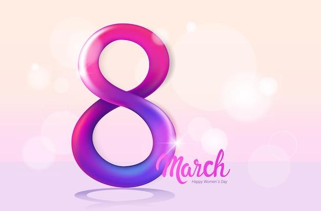 Dia das mulheres 8 de março, feriado, celebração, banner, panfleto ou cartão, com, número oito, ilustração horizontal