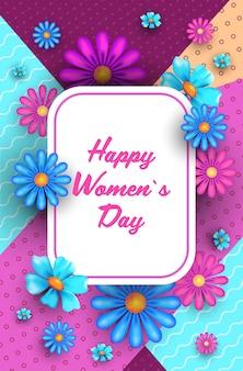 Dia das mulheres 8 de março feriado celebração conceito lettering cartão postal ou flyer com ilustração vertical de flores