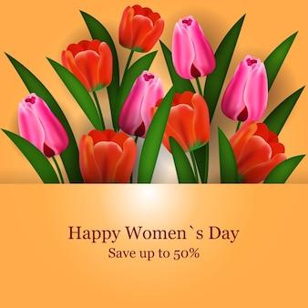 Dia das mulheres 8 de março feriado celebração panfleto ou cartão com ilustração de flores