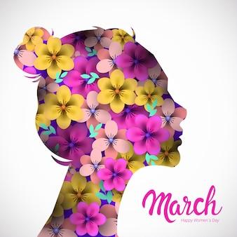 Dia das mulheres 8 de março feriado celebração panfleto ou cartão comemorativo com flores na cabeça feminina