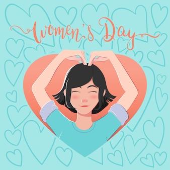 Dia das mulheres com ilustração bonito