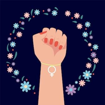 Dia das mulheres, entrega de ilustração do gênero feminino pulseira e decoração floral Vetor Premium