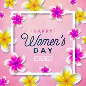 Dia das mulheres floral greeting card ilustração com flor