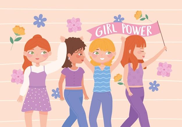 Dia das mulheres, poder das meninas, ideias do feminismo, ilustração do empoderamento das mulheres