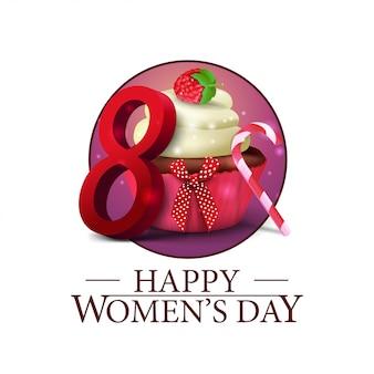 Dia das mulheres rodada banner com bolinho e framboesa bagas Vetor Premium