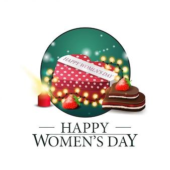 Dia das mulheres rodada banner com presente em forma de um coração Vetor Premium