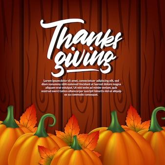 Dia de ação de graças 3d abóbora realista e folhas de bordo outono outono e madeira modelo de cartão de saudação de madeira