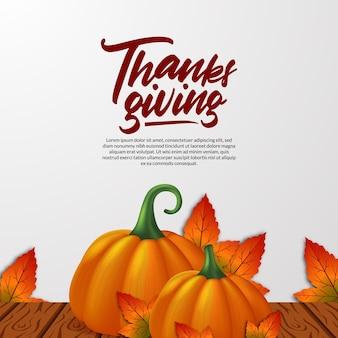 Dia de ação de graças 3d abóbora realista e folhas de bordo outono outono e modelo de cartão de mesa de madeira de madeira