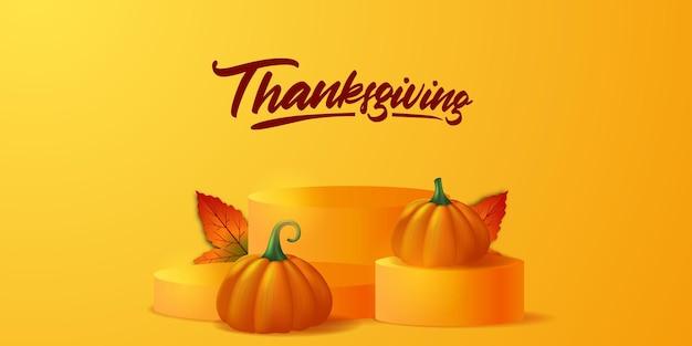 Dia de ação de graças 3d abóbora realista vegetal e folhas de bordo no palco do pódio exibição de produto outono outono modelo de banner de pôster de cartão comemorativo