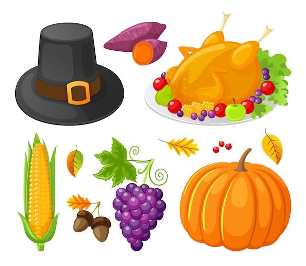 Dia de ação de graças abóbora ícones de milho defina vetor