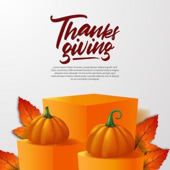 Dia de ação de graças abóbora realista em 3d com display de produto em palco de pódio e folhas de bordo outono outono