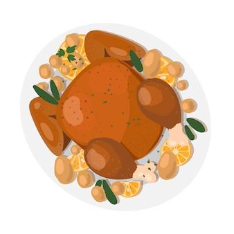 Dia de ação de graças comida tradicional peru de ação de graças com frutas e vegetais em um prato