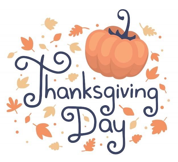 Dia de ação de graças de texto, abóbora e folhas de outono em branco
