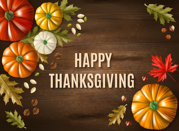 Dia de ação de graças multicolorido cartão com mensagem grande feliz ação de graças na ilustração vetorial de mesa de madeira