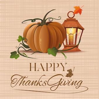 Dia de ação de graças. outono com abóbora e saudações. Vetor Premium