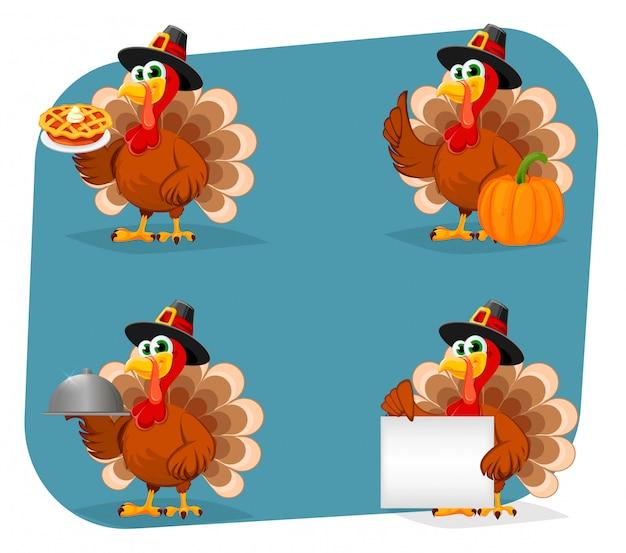 Dia de ação de graças. turquia de personagem de desenho animado