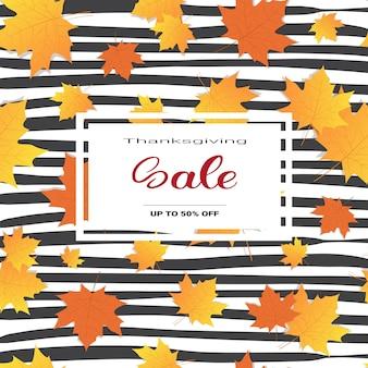 Dia de ação de graças venda outono tradicional compras desconto sazonal preço fora banner