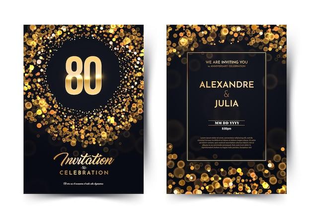 Dia de aniversário de aniversário de 80 anos, papel preto, convite de luxo cartão duplo aniversário de casamento de oitenta anos