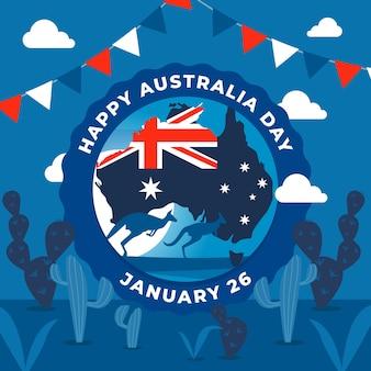 Dia de austrália de design plano com ilustração de canguru