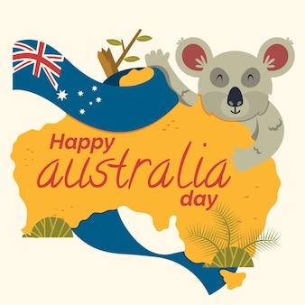 Dia de austrália de ilustração de design plano