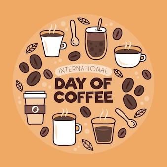 Dia de café vários tipos de bebidas