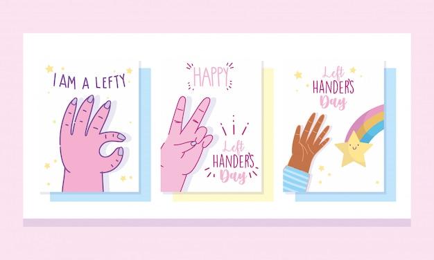 Dia de canhotos, celebração de desenhos animados de mão lettering design