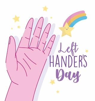 Dia de canhotos, mão aberta e celebração de estrela dos desenhos animados de arco-íris