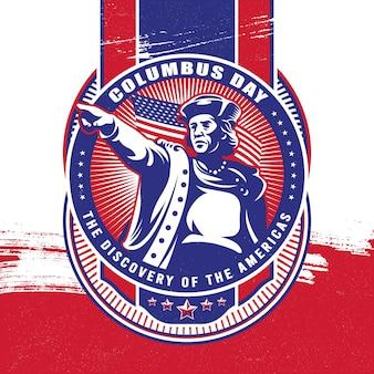 Dia de colombo com ilustração da bandeira da américa