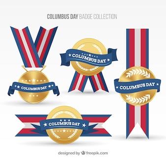 Dia de colombo medalhas decorativos