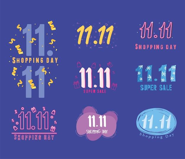 Dia de compras, conjunto de ilustração de banner de elementos de promoção