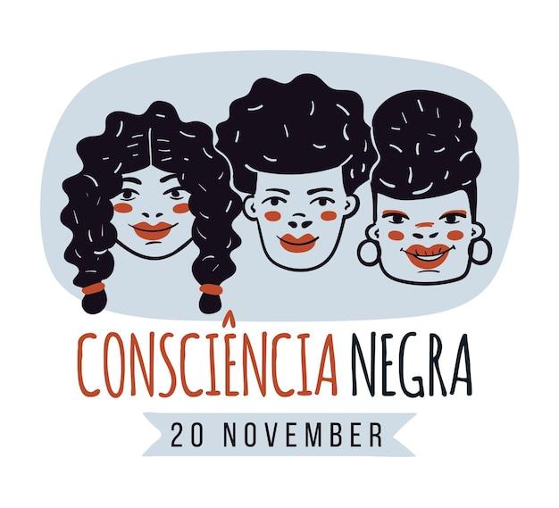 Dia de consciência negra desenhada a mão
