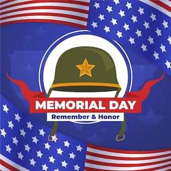 Dia de design plano memorial com capacete de soldado
