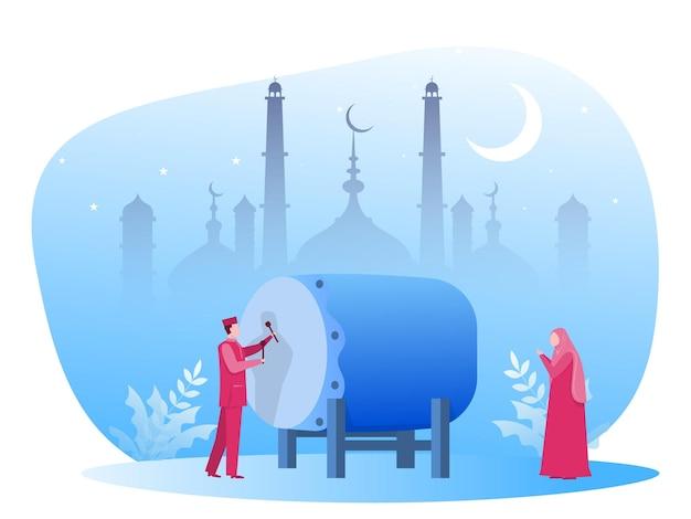 Dia de eid mubarak com muçulmanos na ilustração de ramadan kareem