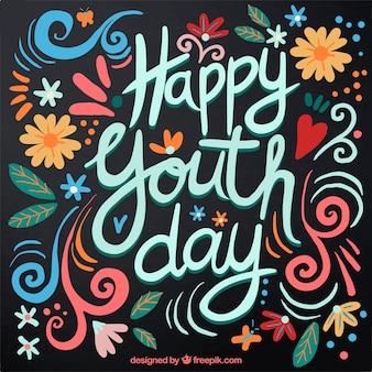 Dia de escrita feliz, fundo retro da juventude