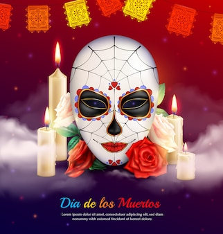 Dia de feriado mexicano de composição realista morta com velas de máscara assustadora e rosas