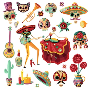 Dia de feriado mexicano de mortos definir música étnica e dança máscaras decorativas velas flores