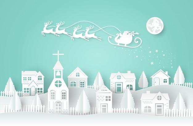 Dia de holi, natal, estilo do corte do papel papai noel e veados estão correndo e voando no céu.
