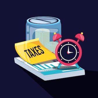 Dia de imposto com pote de poupança