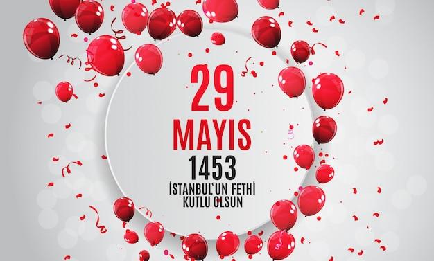 Dia de istanbul'un fethi kutlu olsun com tradução: o dia é feliz conquista de istambul. cumprimentos do feriado turco.