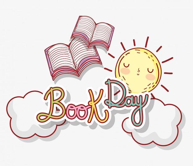 Dia de literatura de livros com sol e nuvens