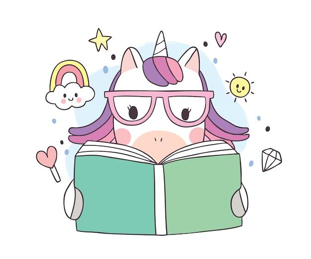 Dia de livro bonito dos desenhos animados, livro de leitura adorável unicórnio
