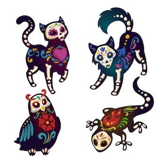 Dia de los muertos com esqueletos de animais
