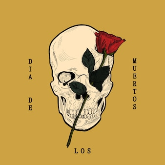 Dia de los muertos, de caveira e rosa em estilo gravado